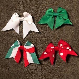Set of 4 Christmas Bows X-Mas Red White Green